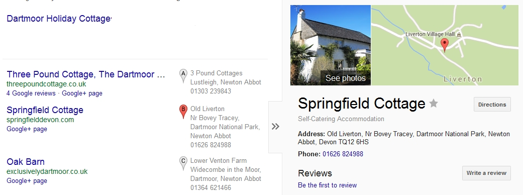 Google Carousel holiday cottage Dartmoor