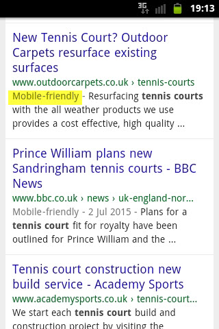 mobile friendly website search result