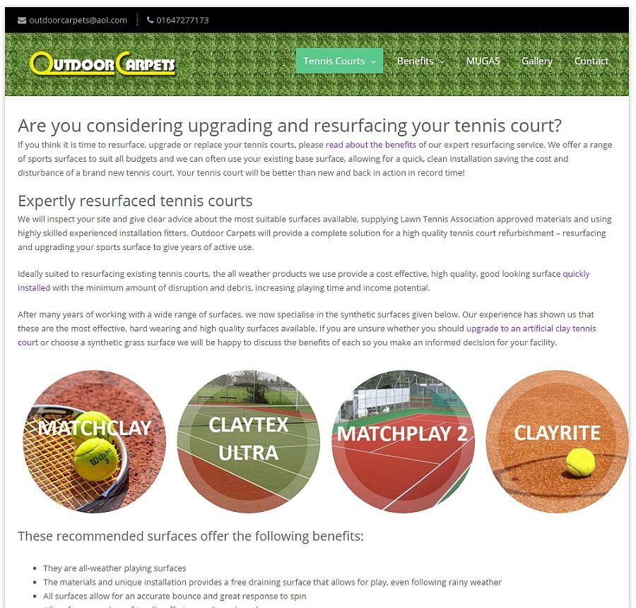 Outdoor Carpets Tennis Court Resurfacing