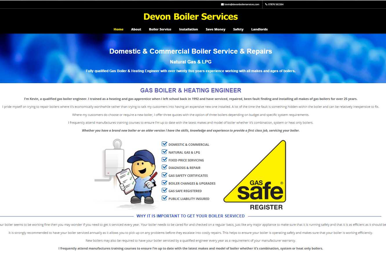 Devon Boiler Services Screenshot