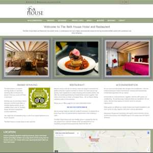 screengrab of Bath House Hotel & Restaurant website design